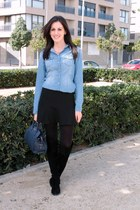 sky blue Stradivarius shirt - black Zara boots - Calzedonia tights