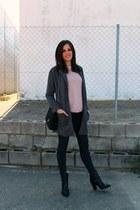 light pink Vila sweater - black Zara boots - Mango coat - pull&bear jeans