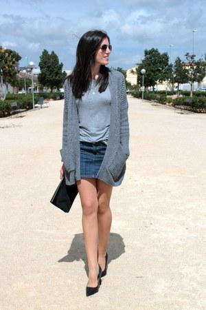 navy Mango skirt - black Bimba & Lola bag - silver Mango t-shirt