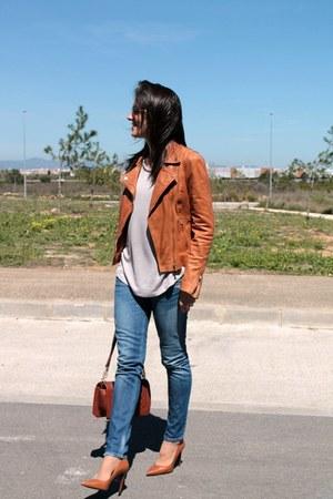 tawny Stradivarius jacket - Fornarina jeans - beige Mango shirt