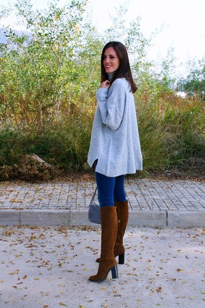 silver H&M sweater - tawny Zara boots - navy Tiffosi jeans