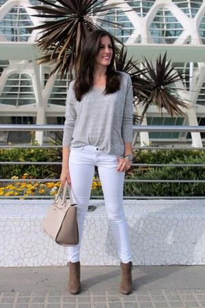white Compañía Fantástic jeans - Mango boots - silver Mango sweater