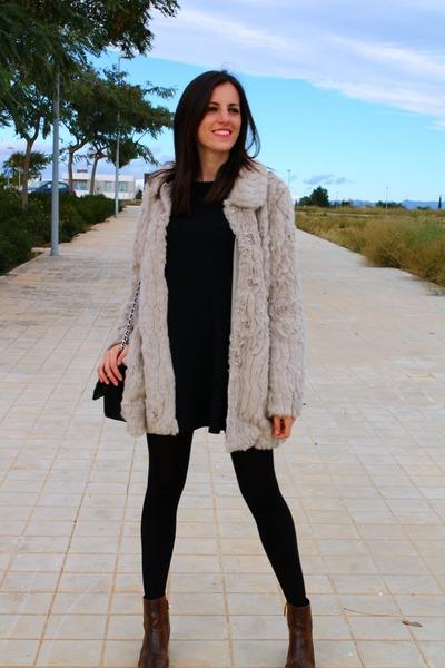 black Celop Punto dress - dark brown Stradivarius boots - tan Vila coat