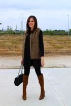 black Celop Punto dress - burnt orange Zara boots - black Calzedonia tights