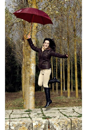 dark brown el corte ingles jacket - black el corte ingles boots - dark khaki ami