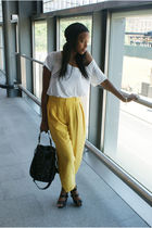 white LnA t-shirt - yellow Kenzo pants - black warehouse accessories - black Off