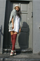 silver red herring cardigan - red American Apparel socks - white cynthia steffe