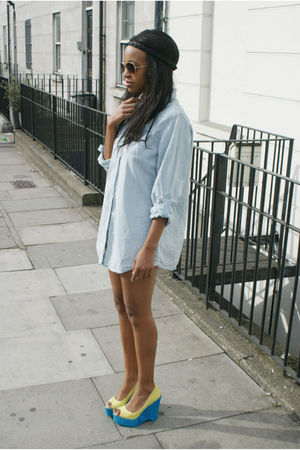 blue H by Henry Holland shirt - yellow Kandee shoes - black American Apparel acc