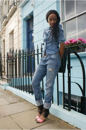 blue H&M shirt - blue net-a-porter jeans - brown asos shoes