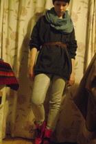 hot pink doc martens boots - light blue River Island jeans - sky blue H&M scarf