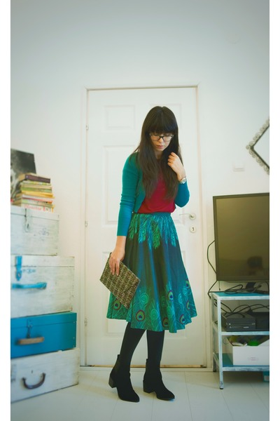 dark green vintage skirt - black hm boots - army green Mango bag