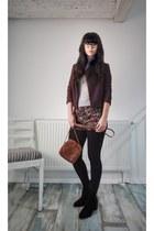 black hm boots - heather gray reserved sweater - puce Mango blazer