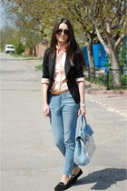 white watch - sky blue Pimkie jeans - black loafers - black stockings