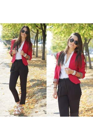 red blazer - black pants - white wedges