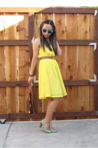 yellow H&M dress - aquamarine Kate Spade New York heels