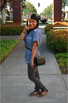 blue Forever 21 blouse - black shirt - brown Forever 21 belt - gray jeans - blac