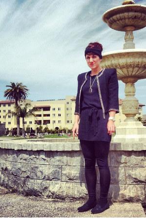 chain detail jacket - dress - leggings - loafers - smokey quartz necklace