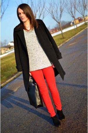 dresslily bag - New Yorker boots - troll coat - c&a sweater - F&F pants