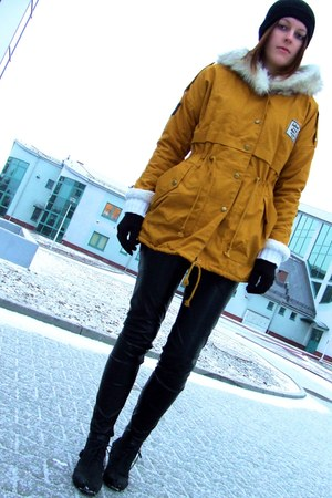 Sheinside coat - Market boots - allegro hat - Vila pants - F&amp;F gloves