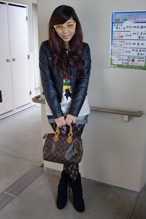 white t-shirt - black jacket - black leggings - black shoes - brown accessories