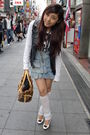 Black-vest-white-shirt-white-shoes-blue-skirt-brown-accessories-white-
