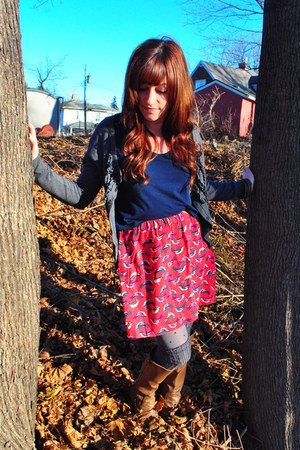 hot pink birds Urban Outfitters skirt - light brown Target boots