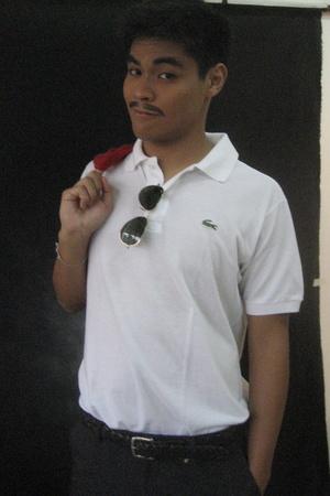 Lacoste shirt - i had it made shorts - Old Navy belt - rayban aviators glasses