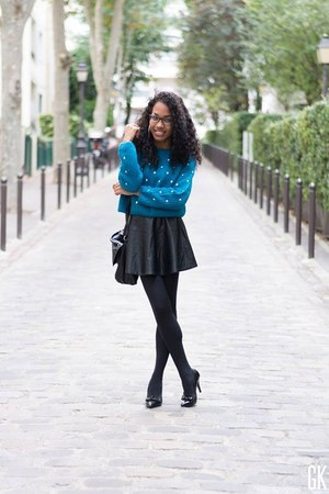 blue OASAP sweater - black romwe skirt
