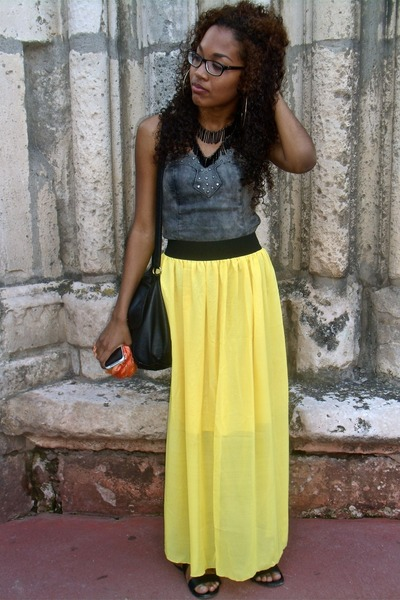 yellow Ebay skirt - black H&M bag