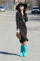 brown aggata dress - turduoise Diesel boots - animal print Zara bag