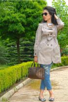 blue ripped Zara jeans - tan cotton asos coat - orange pearls Zara necklace