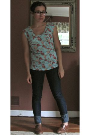 blue Target t-shirt - blue Forever 21 jeans - brown Steve Madden shoes