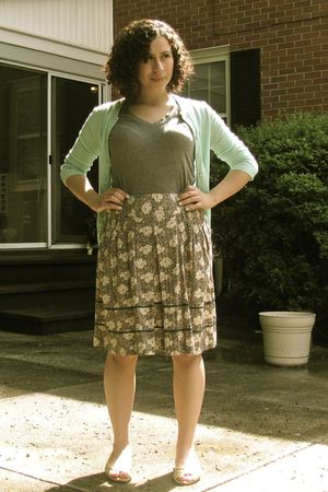 green Jcrew cardigan - gray Target t-shirt - beige Urban Outfitters skirt - yell
