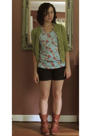 green Jcrew cardigan - blue Target shirt - black Target shorts - brown Frye boot