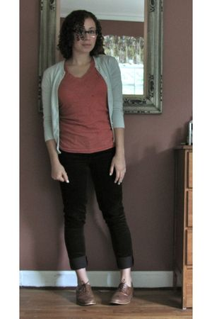 blue Jcrew cardigan - orange Target shirt - purple jcrew cords pants - brown Ste