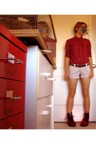 red American Eagle shirt - brown belt - white shorts - beige socks - red doc mar