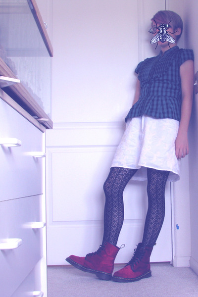 green blouse - white Mossimo dress - black tights - red doc martens boots