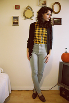 gray American Apparel pants - brown vintage shoes