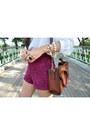 Lace-collared-thrifted-blouse-melie-bianco-bag-burgandy-forever21-shorts