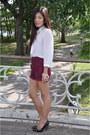 Melie-bianco-bag-burgandy-forever21-shorts-black-aldo-heels