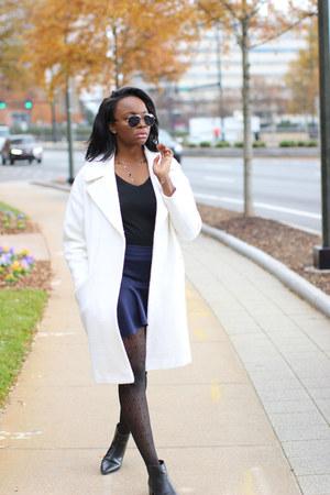 white white cocoon asos coat - black ankle Zara boots
