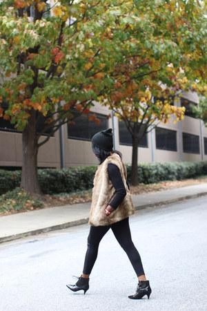 tan faux fur Zara vest - black Mango boots