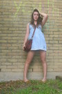Light-blue-abercrombie-and-fitch-dress-brown-lucky-brand-purse-mustard-ameri