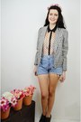 Black-dogtooth-millie-and-me-jacket-blue-denim-millie-and-me-shorts