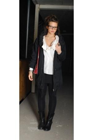 acne blouse - acne jacket - GINA TRICOT skirt - Din Sko boots - vintage purse