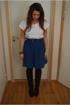 acne t-shirt - H&M skirt - vintage belt - acne boots