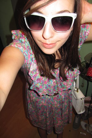green H&M sunglasses - blue Zara dress - white my grandmas purse - brown H&M bel