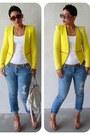 Yellow-zara-blazer-navy-express-jeans-off-white-michael-kors-bag