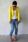Navy-express-jeans-yellow-zara-blazer-off-white-michael-kors-bag