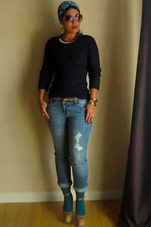 turquoise blue Forever 21 tights - periwinkle Express jeans - navy H&M sweater